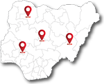map of Nigeria and HIV center locations points